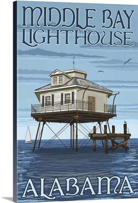 Middle Bay Lighthouse - Alabama: Retro Travel Poster