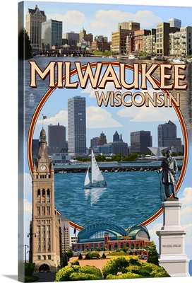 Milwaukee, Wisconsin - Montage Scenes: Retro Travel Poster
