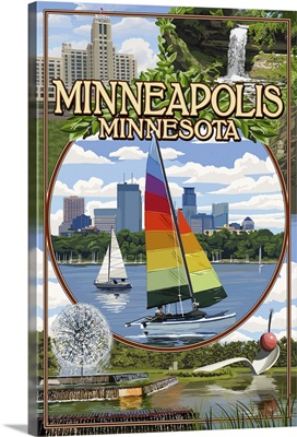 Minneapolis, Minnesota - City Scenes: Retro Travel Poster