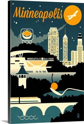 Minneapolis, Minnesota Retro Skyline Wall Art, Canvas Prints, Framed ...