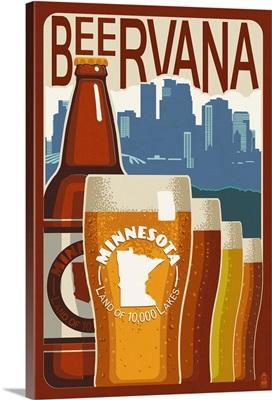 Minnesota - Beervana Vintage Sign: Retro Travel Poster