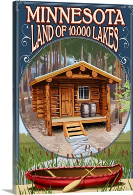 Minnesota - Cabin and Lake: Retro Travel Poster