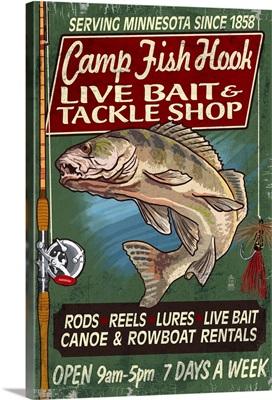 Minnesota - Camp Fish Hook Vintage Sign: Retro Travel Poster
