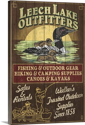 Minnesota - Leech Lake Outfitters Loon Vintage Sign: Retro Travel Poster