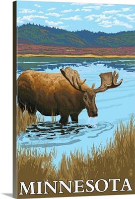 Minnesota - Moose and Lake: Retro Travel Poster