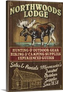 Minnesota Moose Northwoods Lodge Vintage Sign Retro Travel Poster Wall Art Canvas Prints