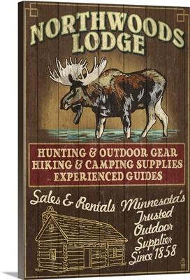 Minnesota - Moose Northwoods Lodge Vintage Sign: Retro Travel Poster