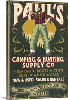Minnesota - Paul Bunyan Camping Supply Vintage Sign: Retro Travel Poster