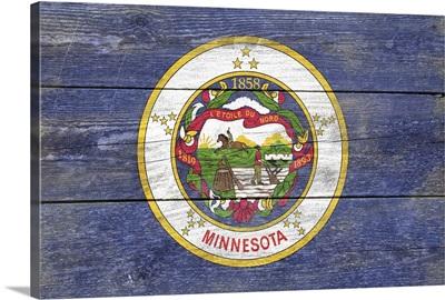 Minnesota State Flag on Wood