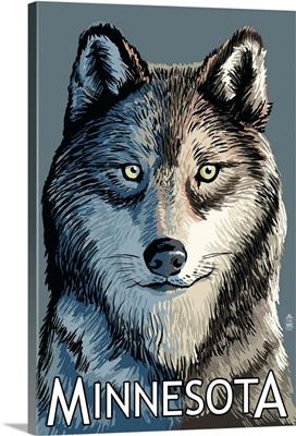 Minnesota - Wolf Up Close: Retro Travel Poster