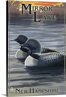 Mirror Lake, New Hampshire - Loon Family: Retro Travel Poster