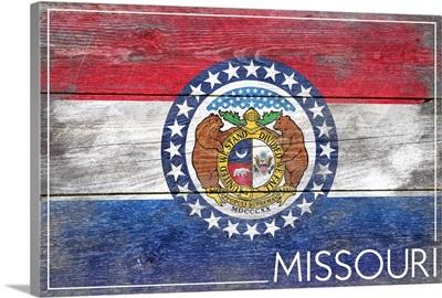 Missouri State Flag on Wood