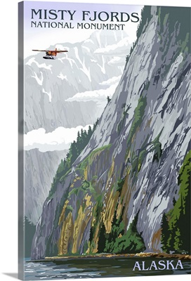 Misty Fjords and Float Plane - Ketchikan, Alaska: Retro Travel Poster