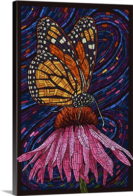Monarch Butterfly - Paper Mosaic: Retro Travel Poster