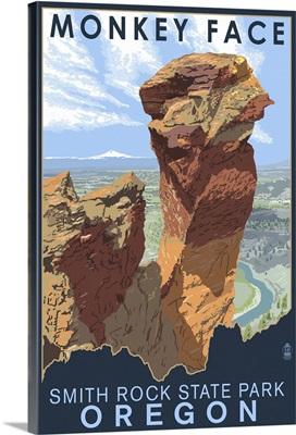 Monkey Face - Smith Rock State Park, Oregon: Retro Travel Poster