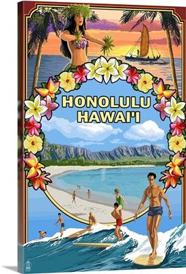 Montage - Honolulu, Hawaii: Retro Travel Poster