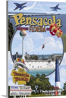 Montage Scenes - Pensacola, Florida: Retro Travel Poster