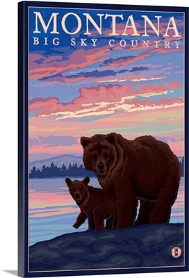Montana - Bear and Cub: Retro Travel Poster