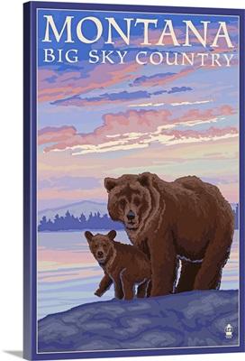 Montana - Big Sky Country - Bear and Cub: Retro Travel Poster