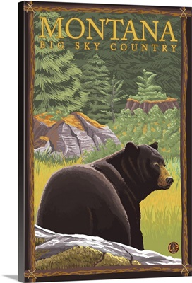 Montana, Big Sky Country - Bear in Forest: Retro Travel Poster