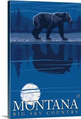 Montana, Big Sky Country - Bear in Moonlight: Retro Travel Poster