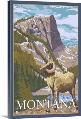 Montana, Big Sky Country - Big Horn Sheep: Retro Travel Poster