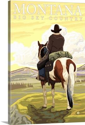 Montana, Big Sky Country - Cowboy: Retro Travel Poster
