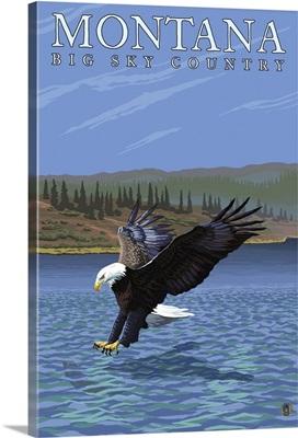 Montana -- Big Sky Country - Diving Eagle: Retro Travel Poster