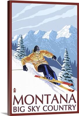 Montana - Big Sky Country - Downhill Skier: Retro Travel Poster