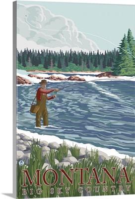 Montana, Big Sky Country - Fisherman: Retro Travel Poster