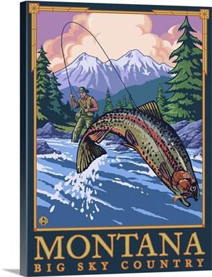 Montana -- Big Sky Country - Fly Fishing Scene: Retro Travel Poster