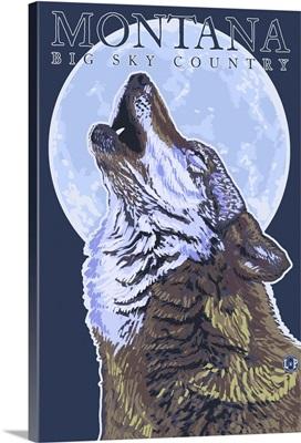 Montana -- Big Sky Country - Howling Wolf: Retro Travel Poster