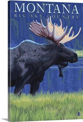 Montana -- Big Sky Country - Moose in Moonlight: Retro Travel Poster