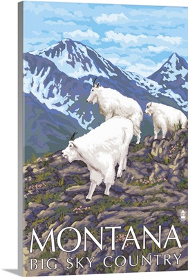 Montana - Big Sky Country - Mountain Goats: Retro Travel Poster