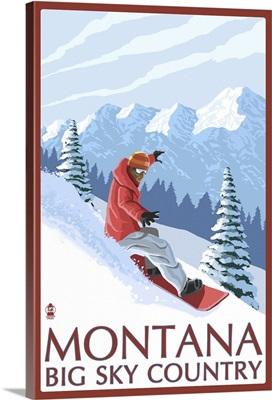 Montana - Big Sky Country - Snowboarder: Retro Travel Poster