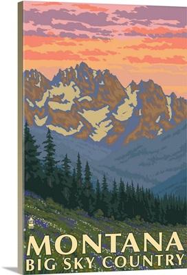 Montana - Big Sky Country - Spring Flowers: Retro Travel Poster