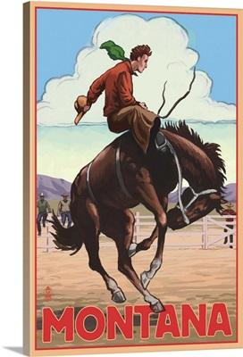 Montana - Cowboy and Bronco Scene: Retro Travel Poster