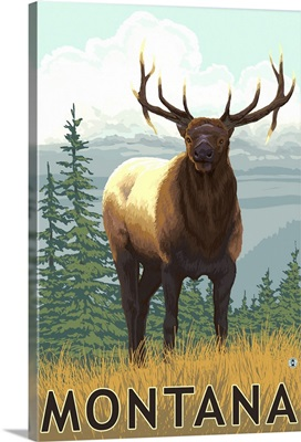 Montana - Elk Scene: Retro Travel Poster