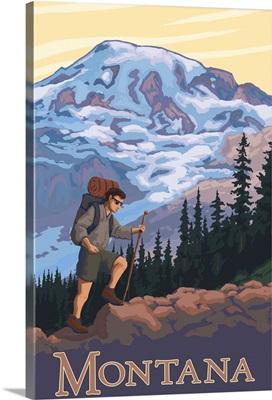 Montana - Hiking Scene: Retro Travel Poster