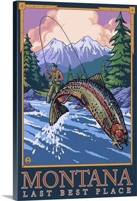 Montana, Last Best Place - Angler: Retro Travel Poster