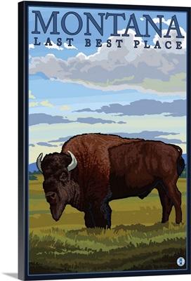 Montana, Last Best Place - Bison: Retro Travel Poster