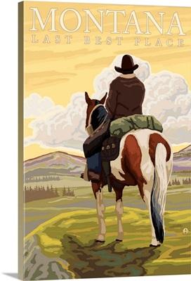 Montana, Last Best Place - Cowboy: Retro Travel Poster