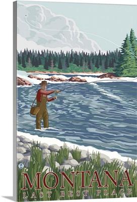 Montana, Last Best Place - Fisherman: Retro Travel Poster
