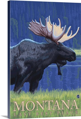 Montana, Last Best Place - Moose at Night: Retro Travel Poster