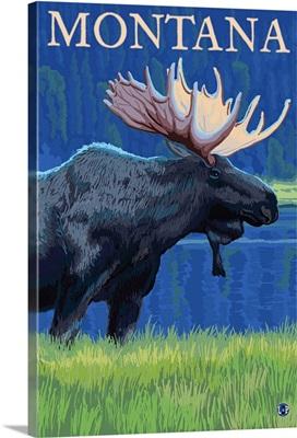 Montana - Moose: Retro Travel Poster