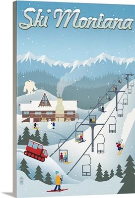 Montana - Retro Ski Resort: Retro Travel Poster
