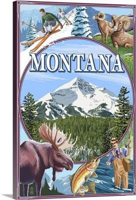Montana Scenes Montage: Retro Travel Poster