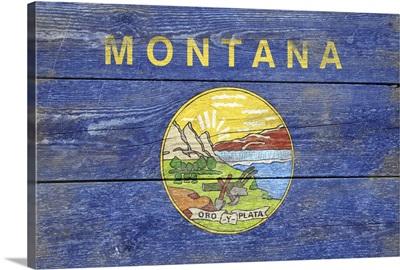 Montana State Flag on Wood