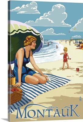 Montauk, New York - Beach Scene: Retro Travel Poster
