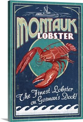 Montauk, New York - Lobster Vintage Sign: Retro Travel Poster